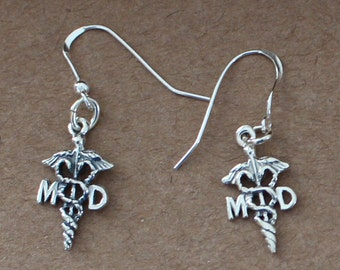 Sterling Silver MD CADUCEUS Earrings -- Medical, Doctor, Hospital