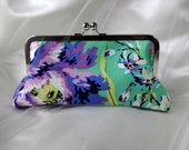 PEONY BRIDESMAID CLUTCH purple and green with silk lining and handle add on photo
