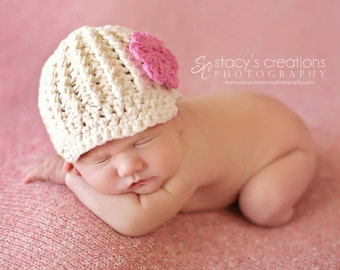 Newborn Girl Hat, Crochet Newborn Hat, Hat for Baby Girl, Ecru, Newborn Newsboy Hat, Girl Newsboy Hat, Newborn Crochet Hat, Baby Photo Prop