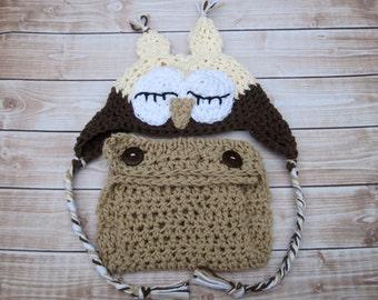 Crochet Newborn Hat and Diaper Cover Set, Crochet Baby Hat, Baby Owl Hat, Baby Girl Hat, Baby Boy Hat, Infant Owl Hat, Newborn Owl Hat,