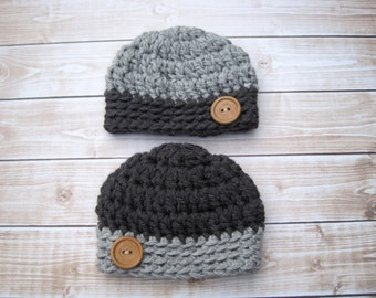 Crochet Twin Baby Hats, Hats for Twins, Crochet Baby Hats, Newborn Twin Hats, Infant Twin Hats, Twin Baby Beanies, Baby Boy Hats, Grey