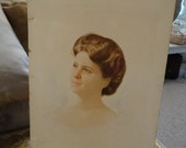 Vintage Victorian Shabby Cottage Chic Watercolor Portrait Lady