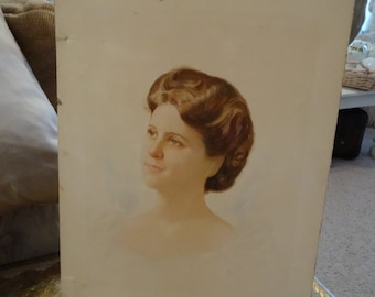 Vintage Victorian Shabby Cottage Chic Watercolor Portrait Lady