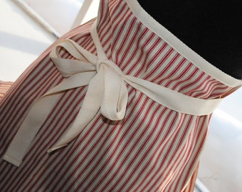 Handmade Red Ticking Cafe Apron Bistro Apron Barista Apron Half Apron Kitchen Apron Baking Apron
