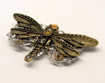 Steampunk jewelry. Steampunk large dragonfly brooch pin.
