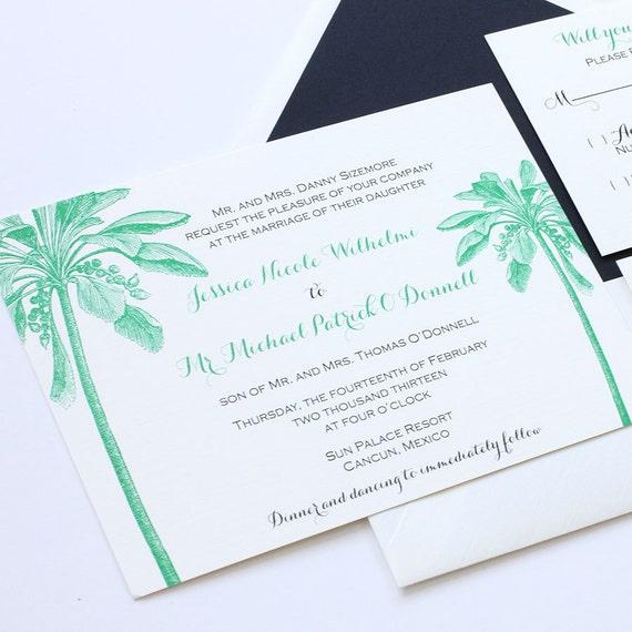 Etsy Beach Wedding Invitations: Palm Tree Wedding Invitation Beach Wedding By Blushpaperie