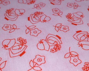 Sunbonnet Sue - Vintage Fabric - Cotton - White & Red