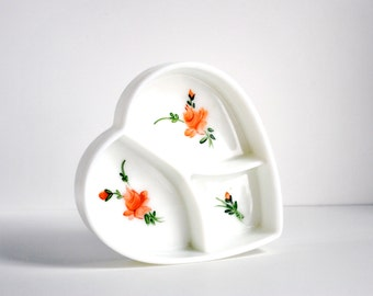 milk glass heart dish hand painted vintage pink rose white divided ring or jewelry holder catch all love token
