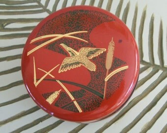 Vintage Made in Japan Lacquerware Round Lidded Box with Bird and Cattails