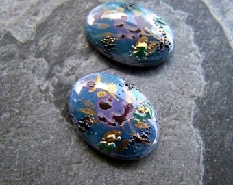 Vintage Hand Painted Metallic Frit Oval Glass Cabocons-2 Stones