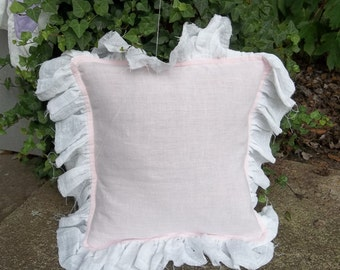 Pink Ruffled Pillow Ruffled Linen Pillow Custom Sizes Colors Decorative Pillow PINK Linen Bedroom Pillow Cover Cottage Chic Nursery Decor