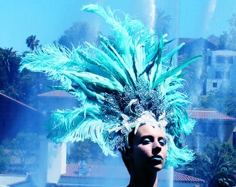 Feather Showgirl Headdress, One of a Kind, Las Vegas Showgirl, Dance Costume, Headpiece, Burlesque,Halloween, Mermaid, Aqua Green, Silver