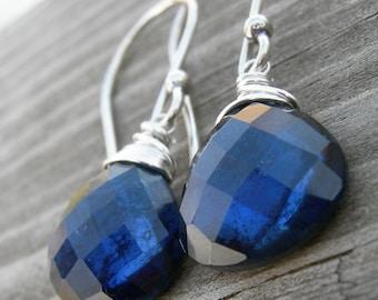 Hematite Blue Topaz Doublet Sterling Silver Wire Wrapped Earrings