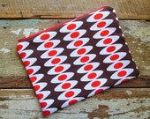 Fabric Zipper Flat Pouch - Retro Dots - Large Sized Fully Lined