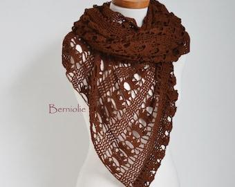 Lace crochet shawl, brown, cotton K182