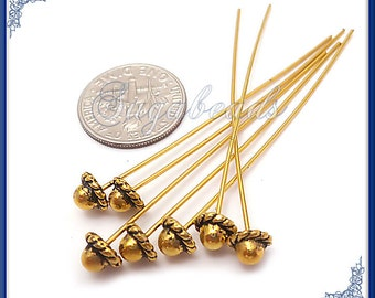 20 Fancy Antiqued Gold over Copper Headpins 2 inch long with 5.5mm Spacer head