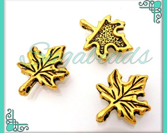 10 Antiqued Gold Maple Leaf Charms 17mm x 13mm