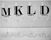 SINGLE DIY Wine Glass Decal Monogram with Title and Date, Wedding Party Favor, Vinyl Decal, Wedding Party Glass Decals, Glasses NOT included
