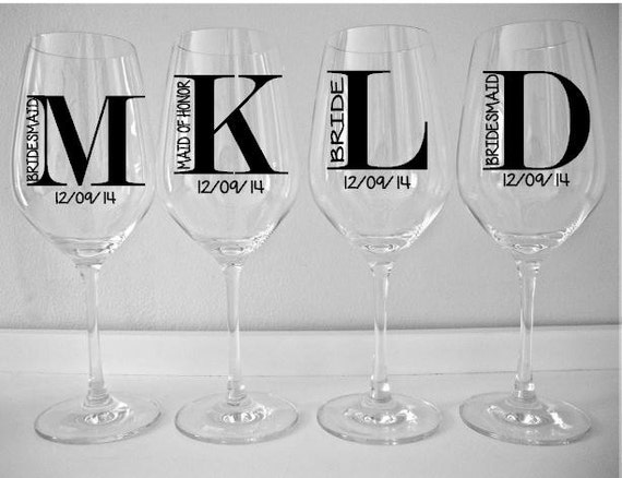 SINGLE DIY Wine Glass Decal Monogram With Title And Date - Wine glass custom vinyl stickers