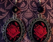 Gothic Steampunk Red Rose Cameo and Black Drop Bead Earrings.