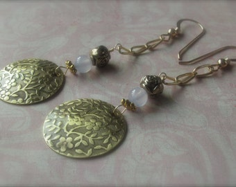 Upcycled Brass Gold Flower Embossed Dangle Earrings W Chalcedony & French Wires