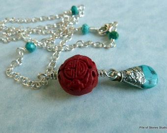 Oriental Express* Ethnic Necklace Tibetan Turquoise Jewelry Red Cinnabar Jewelry Sterling Silver Chain Jewelry Ethnic Asian Pendant Necklace