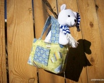 ... Set Hearts Daisies Blue Green Teeny Tote Bag with Polar Bear Plush