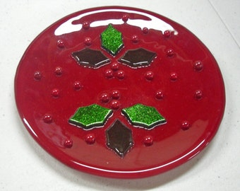 Christmas Plates:  3 Choices - Holly Dish - Christmas Tree Dishes - Red & Green Christmas Dishes - Pat-Crafted Fused Glass Christmas Dishes