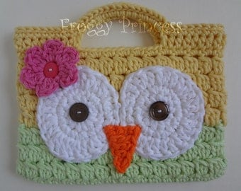 Owl Purse Yellow and Green READY TO SHIP Hand Crocheted Toddler Bag Tote