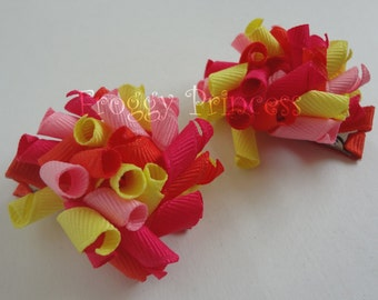 Tea Time Afternoon Mini Korker Bows - Corker Curlies M2MG- No Slip Hair Clippies