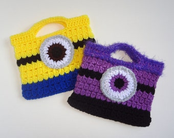 Kids Purse One Eyed Monster READY TO SHIP Hand Crocheted Toddler Bag Tote