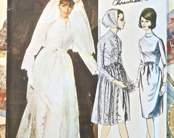 Vogue 1346 - Vintage 1960s Christian Dior Wedding Dress Pattern with Veil and Bridesmaid's Dress - Includes Original Sew-In Label