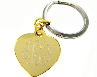 Monogram Gold Tone Heart Key Chain - Engrave Front and Back (MKG001)