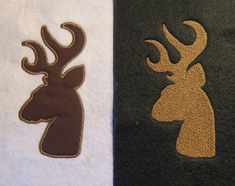 Deer Head Antlers Embroidery and Applique Design - New Formats Added....