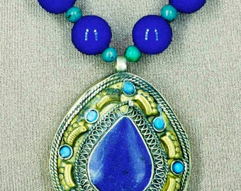 Nepali Lapis and Turquoise Teardrop Necklace