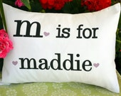 Personalized baby pillow, Newborn gift, baby girls pillow, child gift, name pillow, baby boy pillow, new baby gift, lavender hearts -maddie-
