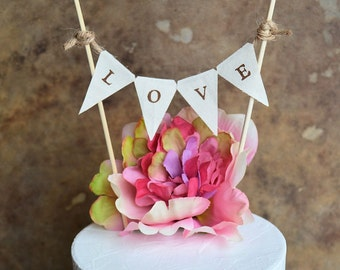 Wedding cake topper banner ... Rustic look L O V E banner for your wedding cake