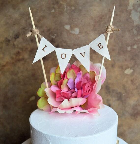 Wedding cake topper banner ... Rustic look L O V E banner for your wedding cake