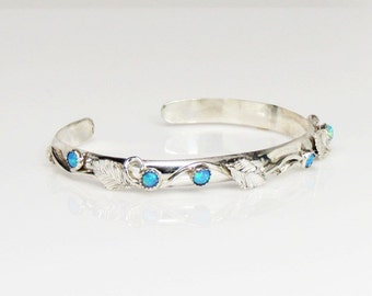 Sterling silver cuff with lab opals, vines and leaves, gift