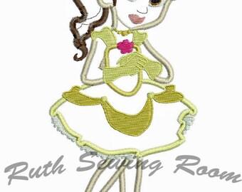 Princess Belle Applique Embroidery Design Instant download