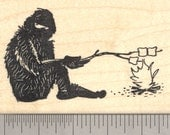 Bigfoot Camping Rubber Stamp, Yeti Roasting Marshmallows, Sasquatch J24401 Wood Mounted