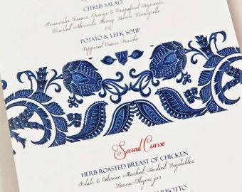24 Indigo Print Food Menu Cards