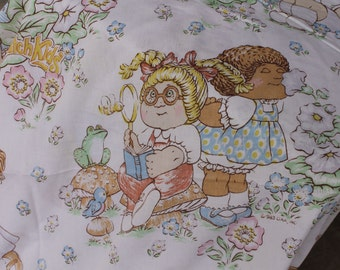 Country Cabbage Patch Kids with Frogs Toadstools Birds Butterflies and Wildflowers Printed Double bed size flat Sheet