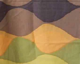 "17"" x 60"" Brown Orange Green Cream Wave Mod Print"