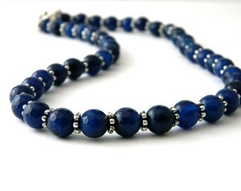 Navy Blue Agate Stone Necklace Beaded Necklace Toggle Clasp