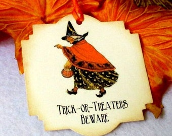 10 Halloween tags - Witch - Trick or treat