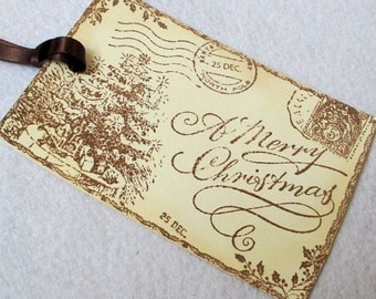 Christmas Gift Tags -  Set of 3 - Hand stamped - Victorian - Post Card
