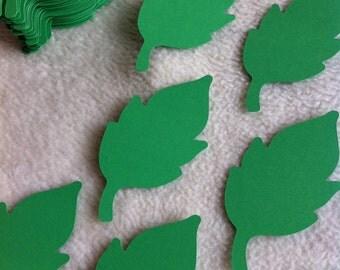 Paper Leaves...100 Piece Set of Very Beautiful Leaf Green Paper Leaves Die Cut Scrapbooking Embellishments