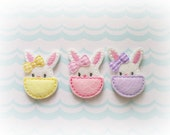 Bunny Felt Appliques, Bunny in Egg Embroidered Appliques, Easter Appliques, Set of 3 Bunny Appliques