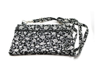 IPad  Mini Case, Kindle Case, Cross Body Bag, Adjustable Strap, Fits eReaders, Black and White Small Floral